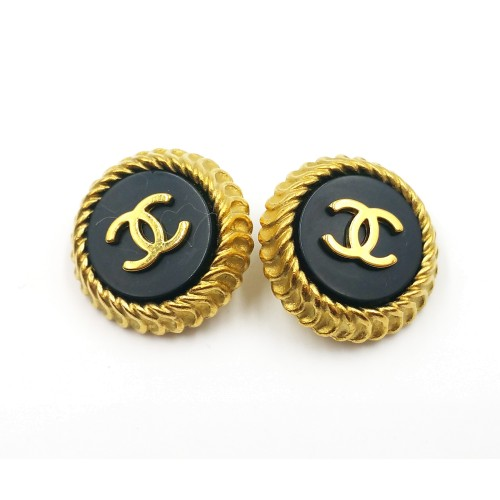 Chanel Gold-Plated CC Black Button Clip-On Earrings
