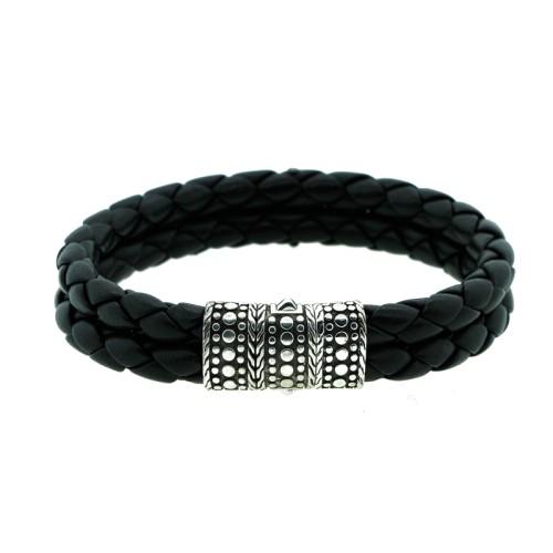 John Hardy Sterling Silver Leather Strap Bracelet