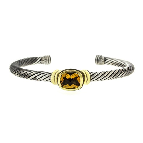 David Yurman Noblesse 14k Yellow Gold & Sterling Silver Orange Citrine Cable Bracelet