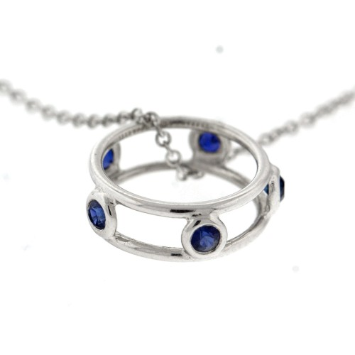 Tiffany & Co. 18k White Gold Sapphire Pendant Necklace