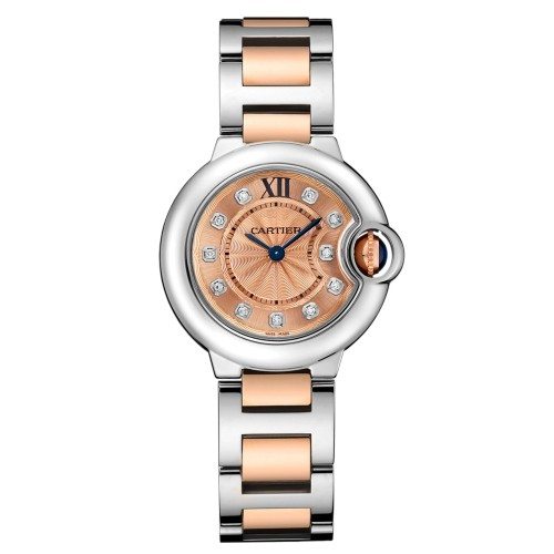 Cartier Ballon Bleu 28 18K Rose Gold & Stainless Steel Watch Diamond Dial on Bracelet WE902052
