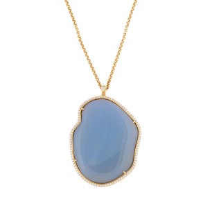 18K Yellow Gold Blue Chalcedony Adriana Necklace