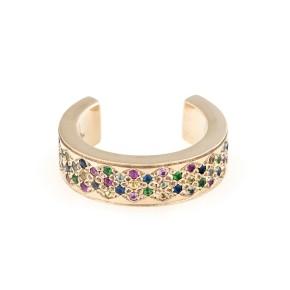 18K Yellow Gold Multicolored Sapphires Korali ~ Signature Insert Ring