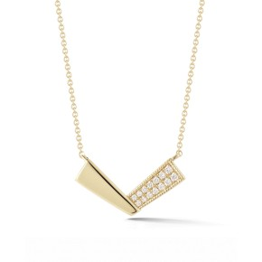Metal and Diamond V Necklace