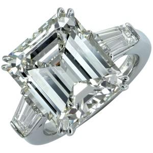 Platinum 10.80ct Emerald Cut Diamond Engagement Ring Size 6.25