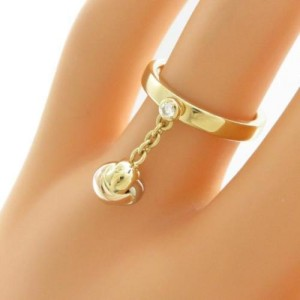 Cartier 18k Yellow, White and Rose Gold Baby Trinity Ball Ring Size 4.5