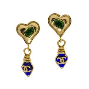 Chanel Gripoix Heart CC Logo Dangle Earrings