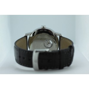 Baume & Mercier Classima XL Stainless Steel Open Work Alligator Strap Watch