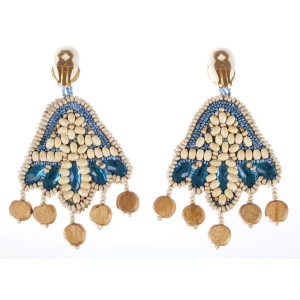 Kenneth Lane Wood Bead Chandelier Earrings