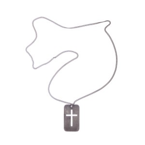 Dior Dog Tag Cross Chain Necklace