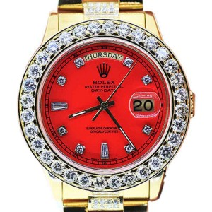 Rolex 18K Yellow Gold 18038 Single Quickset Red Dial Diamond Presidential Watch