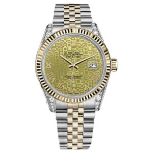 Rolex Datejust 2 Two Tone Champagne Gold Jubilee Roman Numeral Dial Womans 26mm Watch