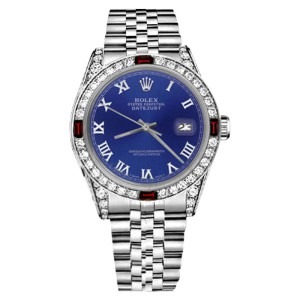 Rolex Datejust Blue Color Roman Numeral Dial Ruby & Diamonds Bezel Women's 31mm Watch