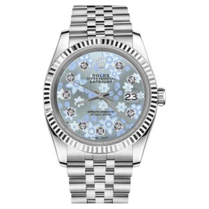Rolex Datejust Stainless Steel Glossy Ice Blue Flower Dial 26mm Womens Watch