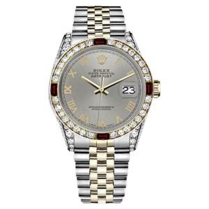 Rolex Datejust 2Tone Slate Grey Roman Numeral Ruby Diamond Jubilee Womens 26mm Watch