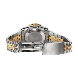 Rolex Datejust 2Tone 18K Gold/Stainless Steel Sapphire Diamond Red Vignette Womens 26mm Watch