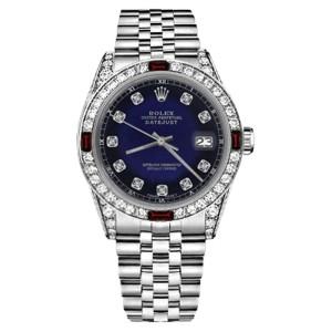 Rolex Datejus Stainless Steel Blue Vignette Red Ruby & Diamonds Accent Jubilee 36mm Unisex Watch