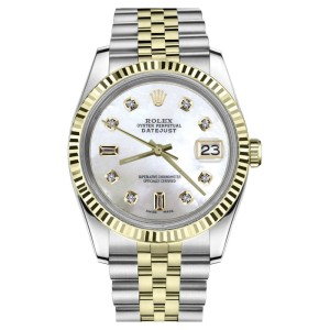 Rolex Datejust 2Tone White Mother Of Pearl with 8+2 Diamond 36mm Womens Watch