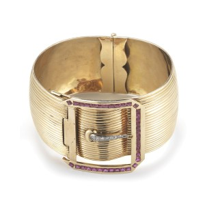 18K Pink Gold Buckle Retro Bangle