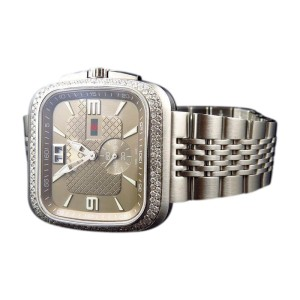 84bbf833ffd Gucci YA131301 Coupe 40mm Square Stainless Steel 2.0 Ct Diamond Watch