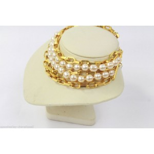 Karl Lagerfeld Faux Pearl Gold Tone Bold 5 Strands Choker Necklace