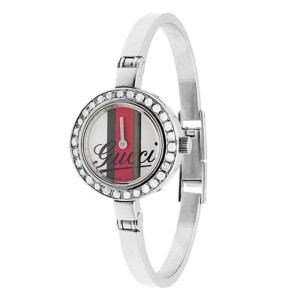 Gucci YA105528 105 Stainless Steel Bangle Bracelet Diamond Womens Watch