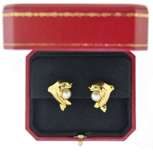 Cartier 18K Yellow Gold, Emerald, & Pearl Laughing Dolphin Earrings