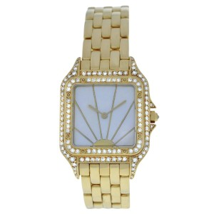 Cartier Panthere 18K Yellow Gold Mother Of Pearl Dial Quartz 27mm Womens Watch