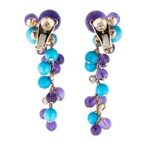 Cartier 18K Rose Gold Delice de Goa Turquoise Amethyst Diamond Drop Earrings