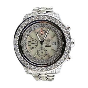 Breitling Super Avenger Full  32 Ct Diamond Mens Watch