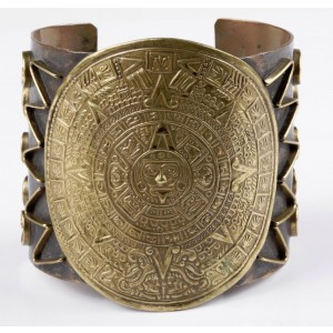 Aztec Mexican Calendar Cuff Bracelet