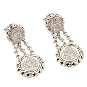 John Hardy Sterling Silver & 18K Yellow Gold Circular Pave Diamond Dangle Drop Earrings