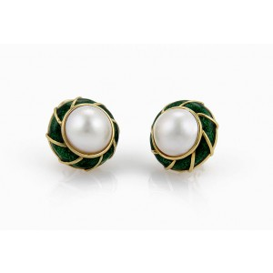 Tiffany & Co. 18K Yellow Gold Mabe Pearl and Green Enamel Designer Earrings