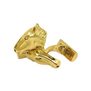 18K Yellow Gold 3D Horse Head Cufflinks