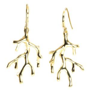 Ippolita 18K Yellow Gold Diamond Drop Dangle Hook Tree Branch Earrings