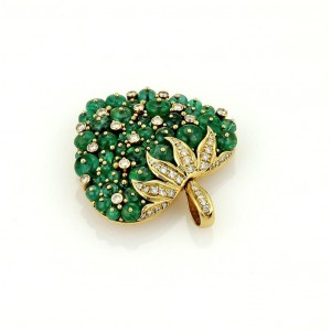 18K Yellow Gold 15.50 ct. Emerald & Diamonds Strawberry Pendant