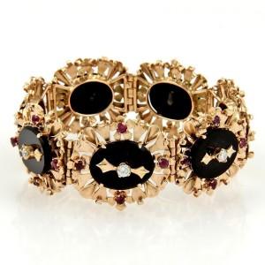 18K Rose Gold Diamond Rubies & Onyx Floral Link Bracelet