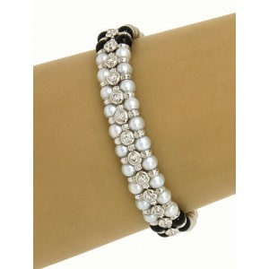Zancar 18K White Gold Diamond, Pearls & Onyx Beaded Designers Bracelet