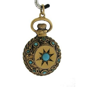 14k Yellow Gold & Turquoise Star Burst Pocket Watch Fancy Design Charm
