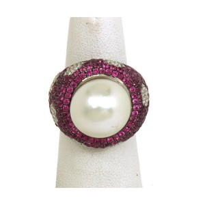 18K W-Gold, Diamonds, Pink Sapphires South Sea Pearl Floral Ring
