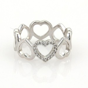 Tiffany & Co. 18K White Gold Diamonds Open Hearts Band Ring