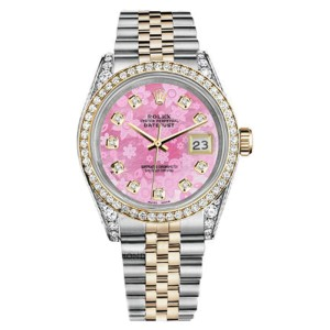 Rolex Datejust Stainless Steel And Gold Pink Flower MOP Diamond Dial 36 mm Watch