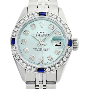 Rolex Datejust Oyster Perpetual Stainless Steel & 18K White Gold Ice Blue Diamond/Sapphire Watch