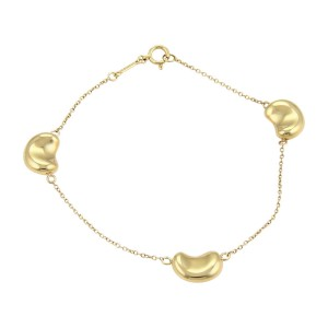 Tiffany & Co. Elsa Peretti 18K Yellow Gold Bean Charms Chain Bracelet