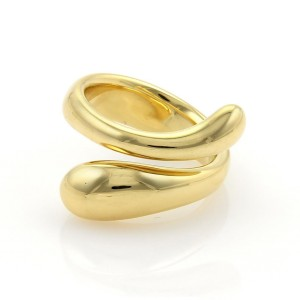 Tiffany & Co. Elsa Peretti 18K Yellow Gold Tear Drop Bypass Ring