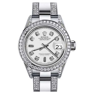 Rolex Datejust Oyster Perpetual White Dial Accent Diamonds Womens 26mm Watch