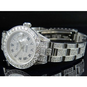 Rolex Datejust Oyster Full Iced Out Dial Diamond 27mm Watch
