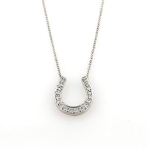 Tiffany & Co. Platinum Diamond Horse Shoe Equestrian Pendant Necklace
