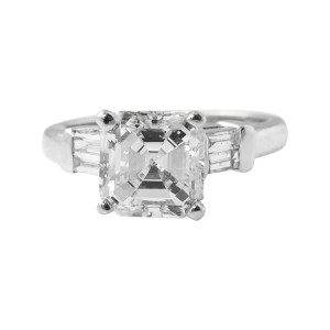 Platinum 2.24ct. Diamond Engagement Wedding Ring Size 5