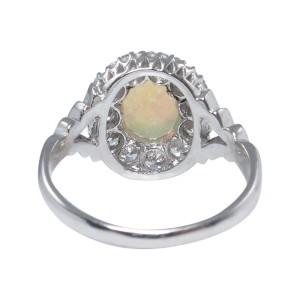 18k White Gold Australian Opal 1.69Ct Diamond Cluster Engagement Ring